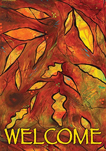 Toland Home Garden Autumn Alchemy 28 x 40 Inch Decorative Colorful Fall Leaves Welcome House Flag]()