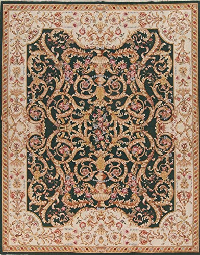 Rug Source One-of-A-Kind New Savonnerie Transitional Hand-Woven 8x10 Green Wool Oriental Area Rug (9' 11