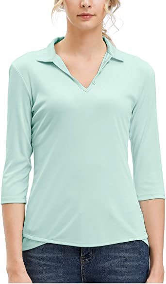 MOHEEN Women's Moisture Wicking Golf Polo Shirt 3/4 Sleeve Dry Fit