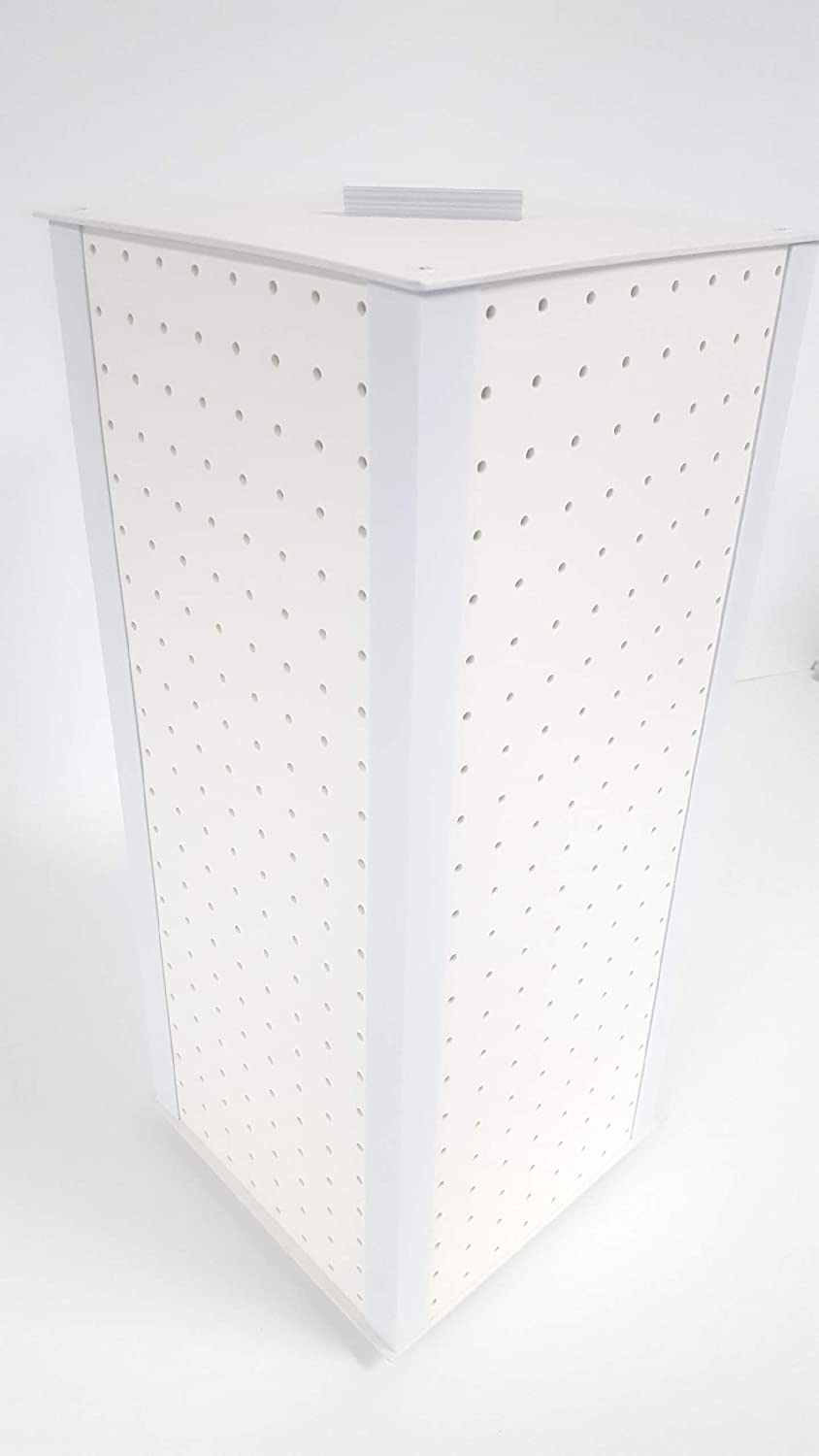Playwin All White 4-Sided Revolving Pegboard Countertop Display (23 x 9 1/2 Inches)