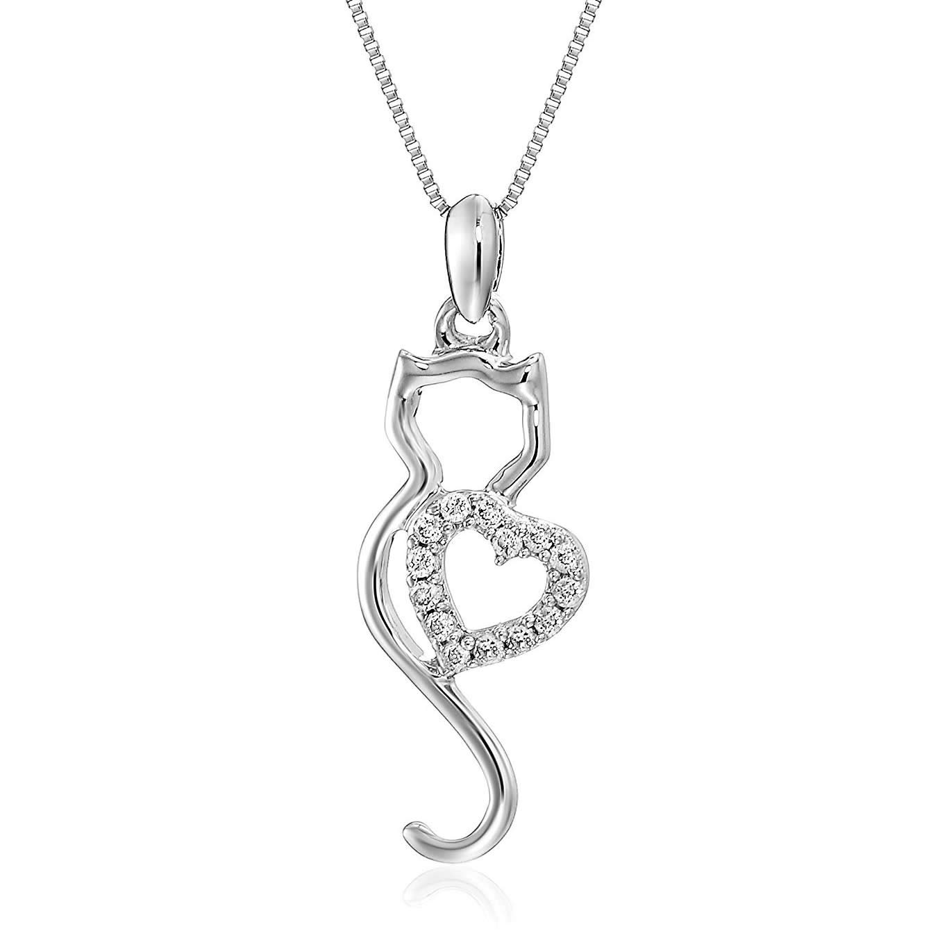 d436b96adb7 Amazon.com: Vir Jewels 1/10 cttw Diamond Cat Pendant In 14K White Gold with  18 Inch Chain: Jewelry