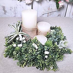 "WINDIY SUPLA 6.6' Long 4.3"" Wide Artificial Boxwood Greenery Garland Faux Boxwood Greenery Garland String Hanging Boxwood Twigs Vine Garland Table Runner for Spring Weddings Indoor Outdoor Décor 7"