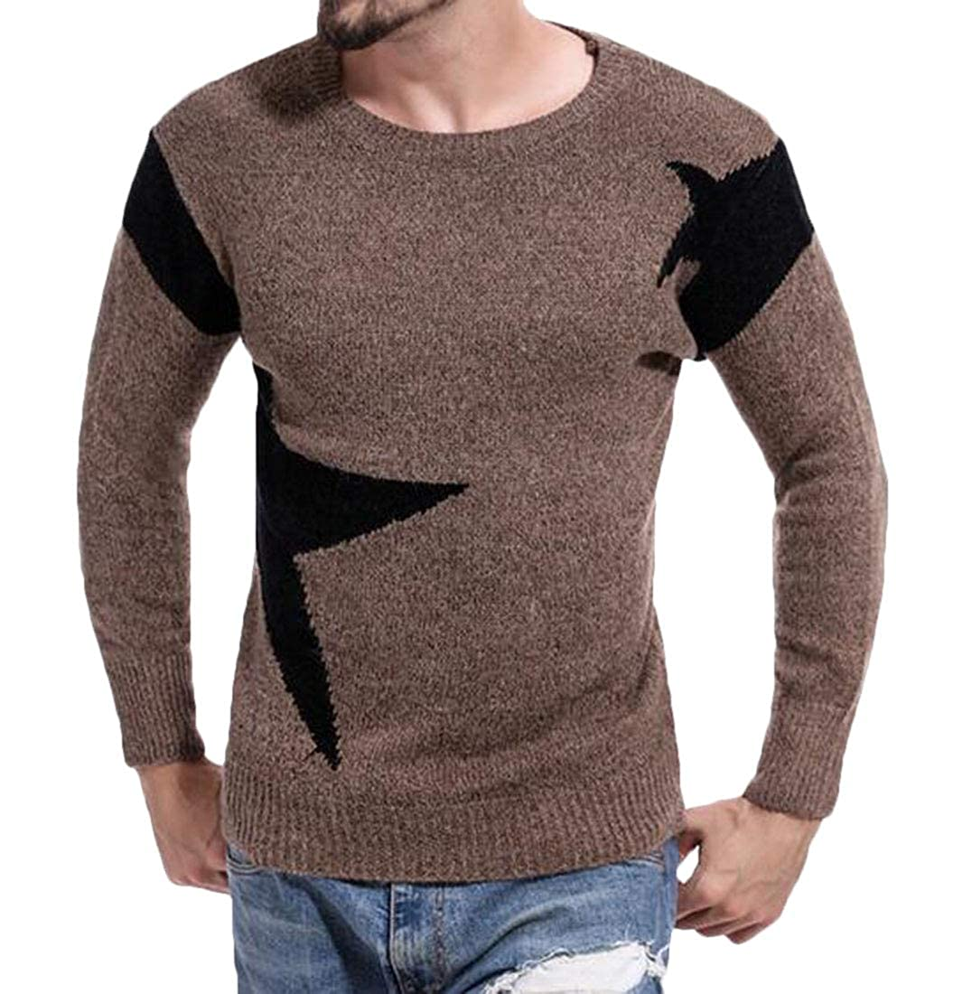 Frieed Mens Slim Pullover Round Neck Patchwork Fashion Knitted Long Sleeve Sweater