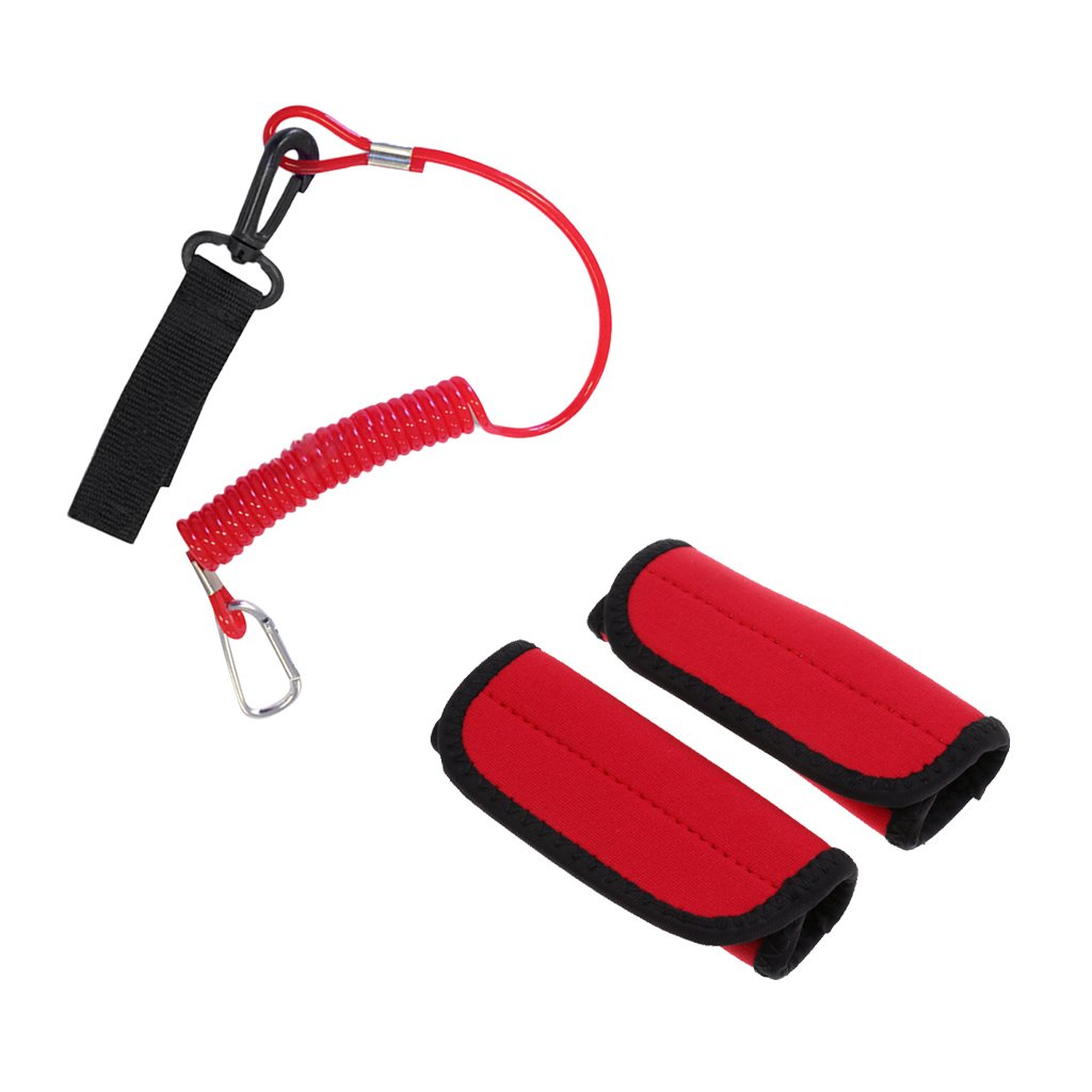 MonkeyJack 1 Pair Kayak Canoe Paddle Grips + Leash with Fastening Tape
