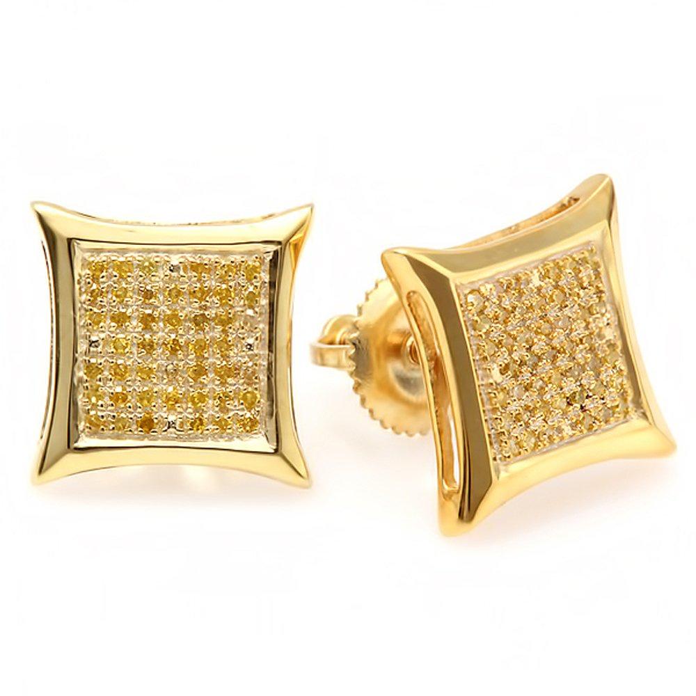 0.20 Carat (ctw) 14K Yellow Gold Yellow Round Diamond Micro Pave Setting Kite Shape Stud Earrings