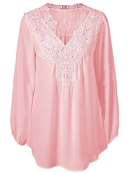 8a24d92f4ce Sumtory Plus Size Chiffon Top Spring Lace Patchwork Long Sleeve Blouse T  Shirts(2xl-5xl)