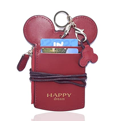 Cute Small Travel Leather Lanyard ID Card Badge Holder With Coin Purse For  School Students Kids Teens Girls
