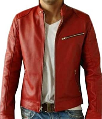 3f2bcbf42054 V4M Men's New Red Biker Genuine Leather Jacket Sale Offer Price 87 USD Sale  at Amazon Men's Clothing store:
