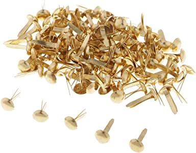 Jili Online 200 Pieces Mini Gold Metal Brads Paper Fastener for Scrapbooking Cardmaking Paper Craft DIY 8mm