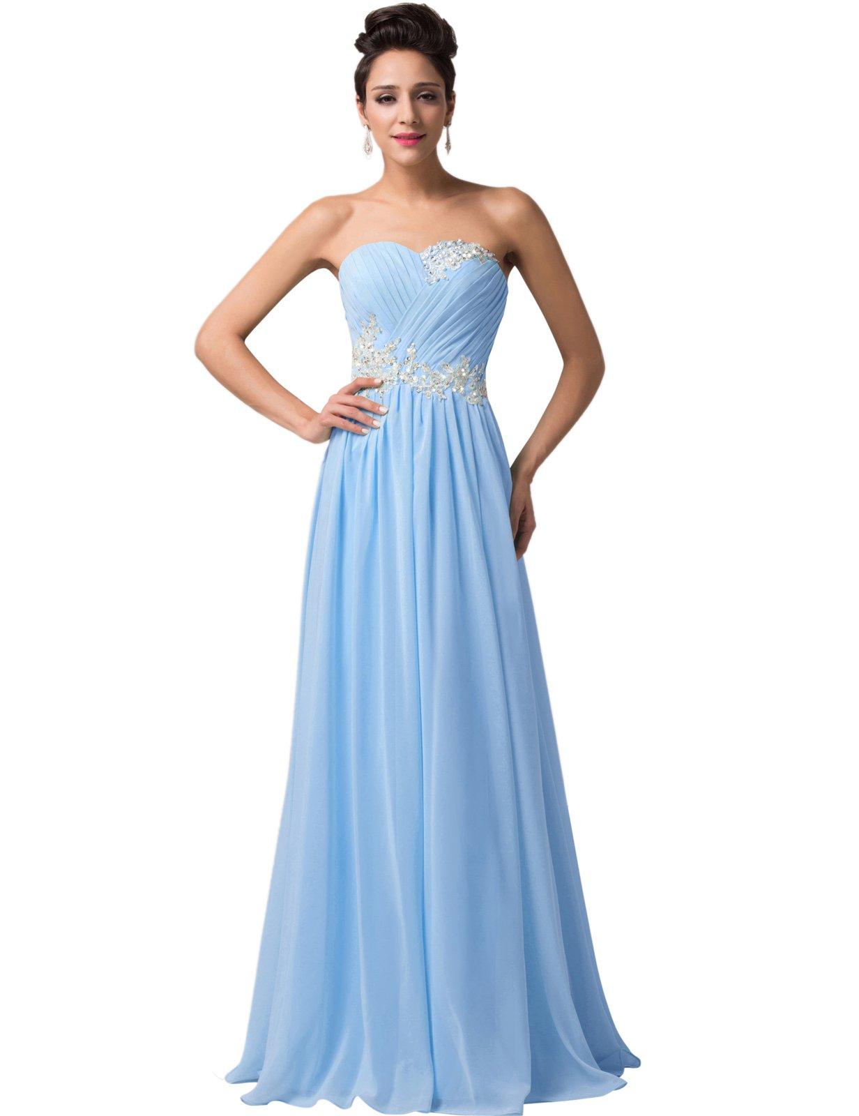 GRACE KARIN Women Long Evening Wedding Dress Chiffon Ball Gowns Prom Bridesmaid With Applique