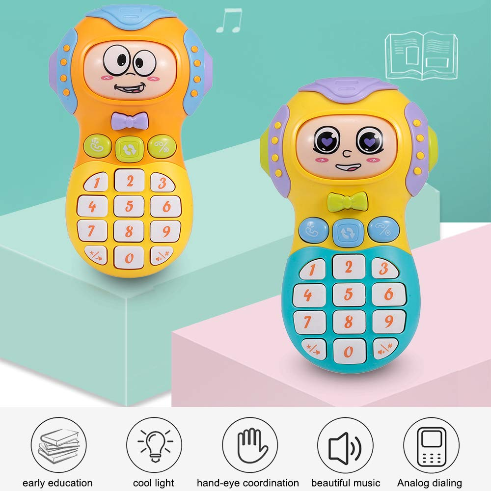 Walmeck- Cell Phone Toy Kids Mobile Phone Toy Cell Phone Toddler Toy with Music Light Cute Baby Face for Babies Toddlers Children Boys Girls 18+ Months by Walmeck-