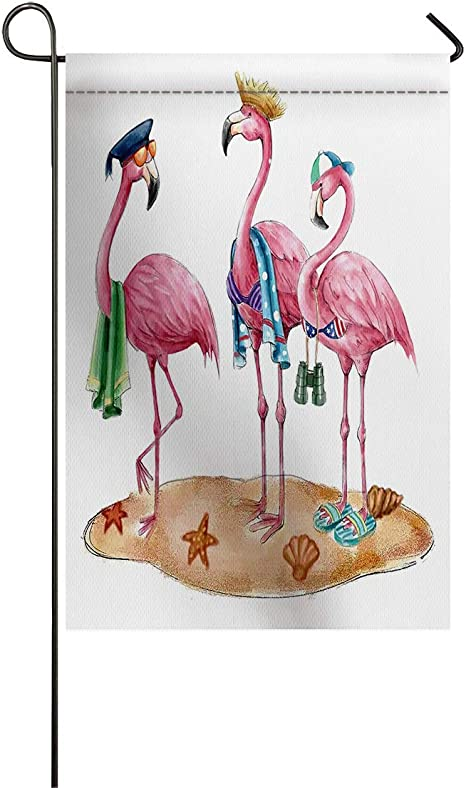 Amazon Com Funny Beach Pink Flamingos Welcome Garden Flag Cartoon Art Decorative Holiday Flags Yard Flag House Banners For Indoor Outdoor Outside Home Decor Double Side Printed Garden Outdoor