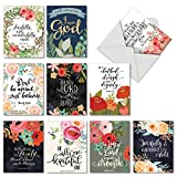 10 Assorted Religious Note Cards (4'' x 5 ¼'') - All Occasion Praise Papers - Watercolor Inspirational Christian Quotes & Bible Verse Greeting Card - Boxed Blank Notecard with Envelopes #M6635OCB