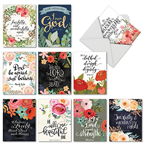 Wreath Note (M6635OCB Praise Papers: 10 Assorted Blank All-Occasion Note Cards Featuring Beautiful Watercolored Floral Blooms and Wreaths Paired with Inspirational Bible Quotes, w/White Envelopes.)
