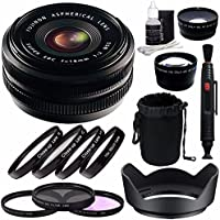 Fujifilm 18mm f/2.0 XF R Lens + 52mm 3 Piece Filter Set (UV, CPL, FL) + 52mm +1 +2 +4 +10 Close-Up Macro Filter Set with Pouch + 52mm Wide Angle Lens + 52mm 2x Telephoto Lens with pouch Bundle 3