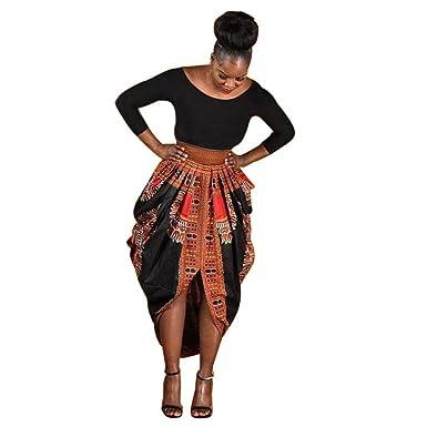 4ea5d51048 NEARTIME Women Dress, Irregular African Print Dress Casual Long Sleeve Maxi  Dresses (S)