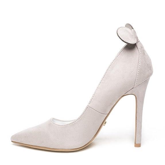 Daim Ideal Oreilles Souris Gris Minnia De Avec Effet Shoes Escarpins BwtxqwTg