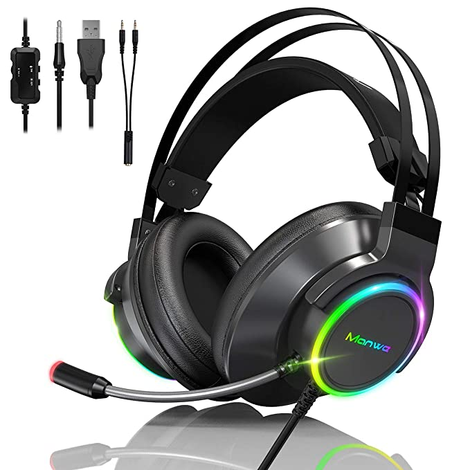 Manwe Auriculares Gaming PS5 Auriculares con Microfono, PC/Mac/Xbox One/PS4/PS5/Nintendo Switch Reducción de Ruido…
