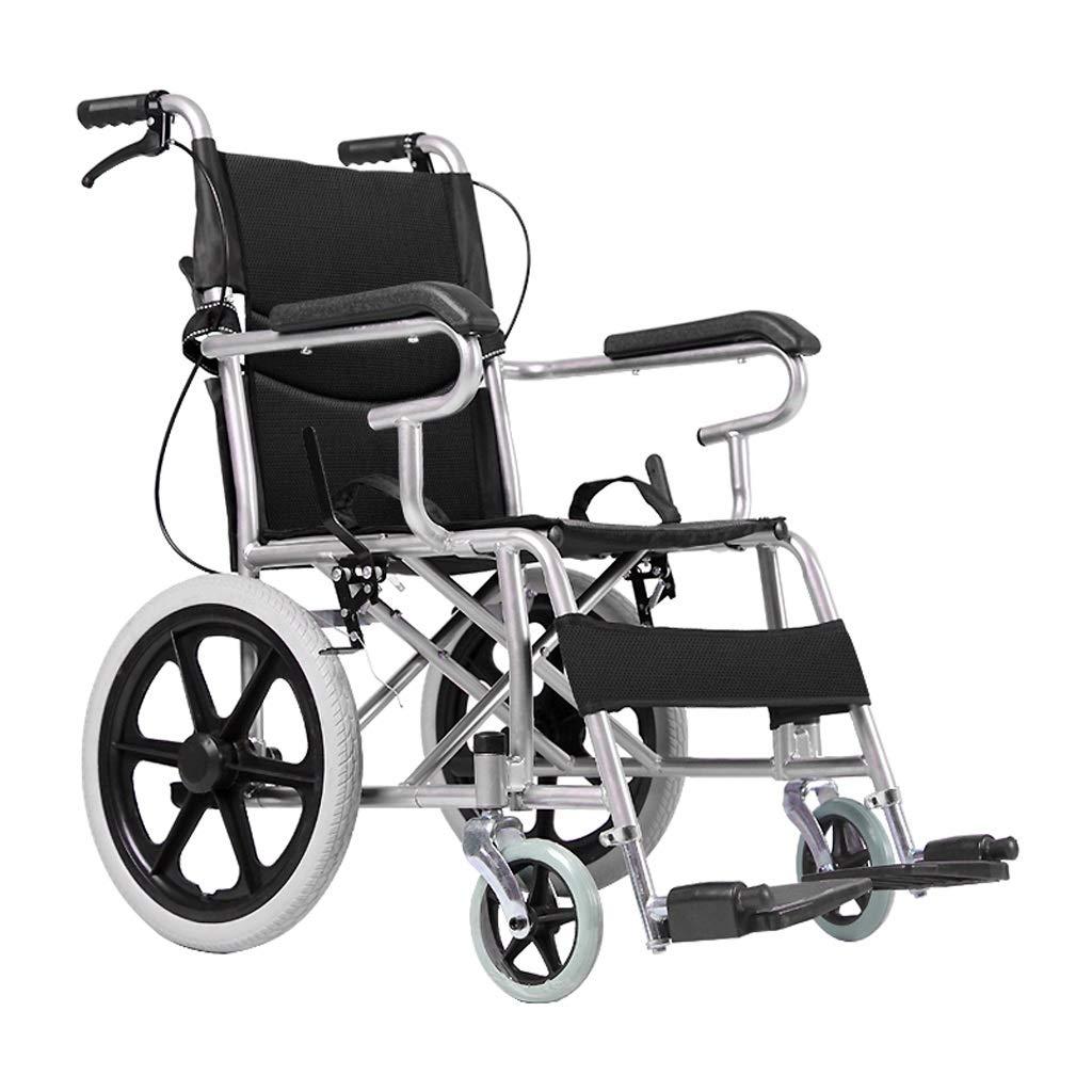 車いす マニュアル車いす折り畳み式車椅子 高齢者用車いす車いす用車椅子障害者用車いす 携帯用車椅子 (Color : Black)  Black B07H7BPW52