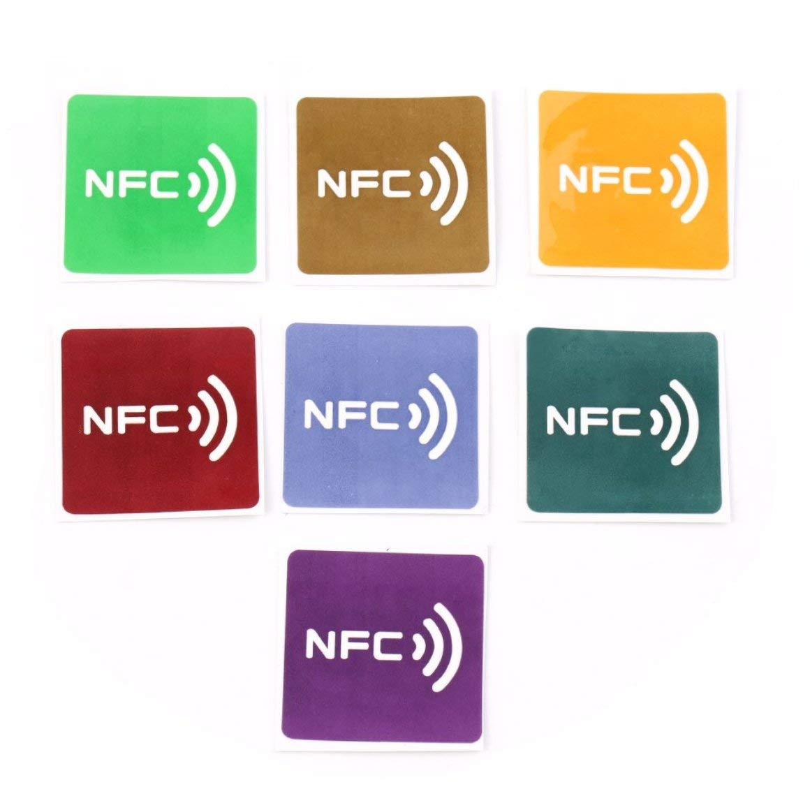 Funnyrunstore 7pcs Universal NFC Tag Multicolor Square NFC Tag Lables adesivi per dispositivo NFC-Wholesale