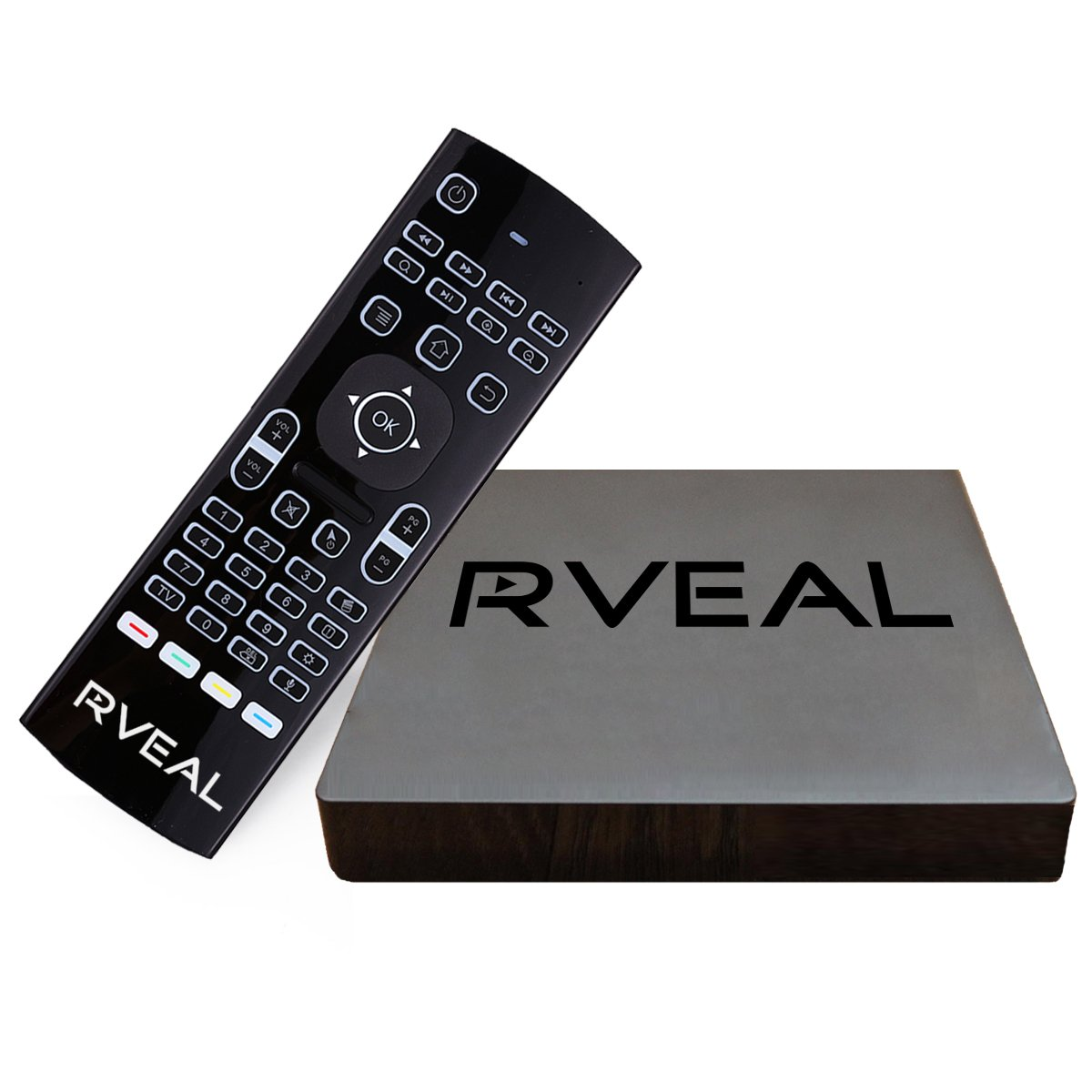 Rveal 2 Streaming Media Player and Backlit Air Mouse Keyboard Remote [2018 Model, Android TV Box, Automated Updates, S912 Octa-Core CPU, H.265 4K HD] by Rveal