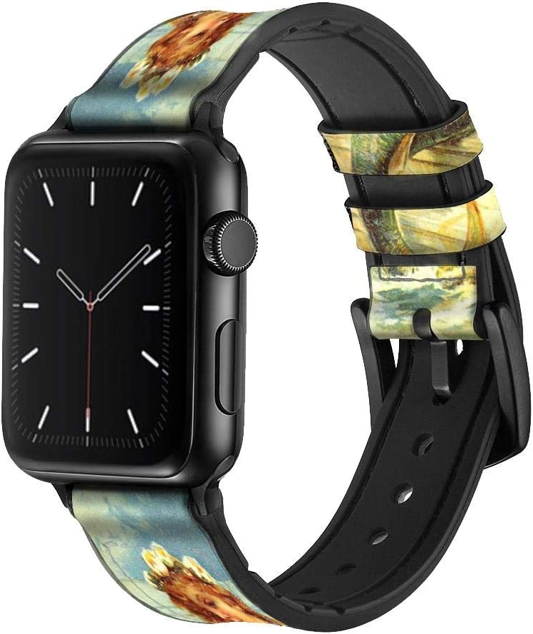 CA0603 Little Mermaid Painting Leather & Silicone Smart Watch Band Strap for Apple Watch iWatch Size 38mm/40mm