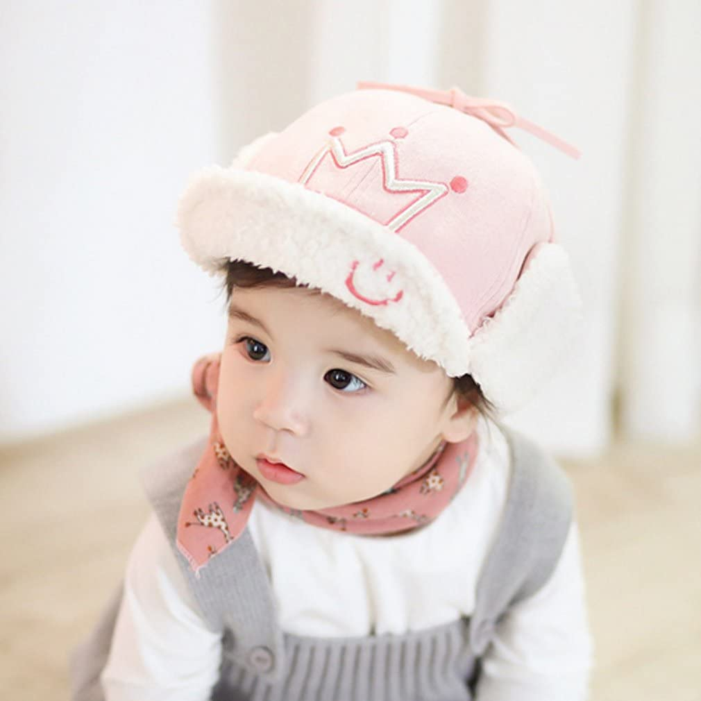 Thenice Crown princess Baby Toddler Hat Plus velvet cotton Boys Girls Warm Winter Cap
