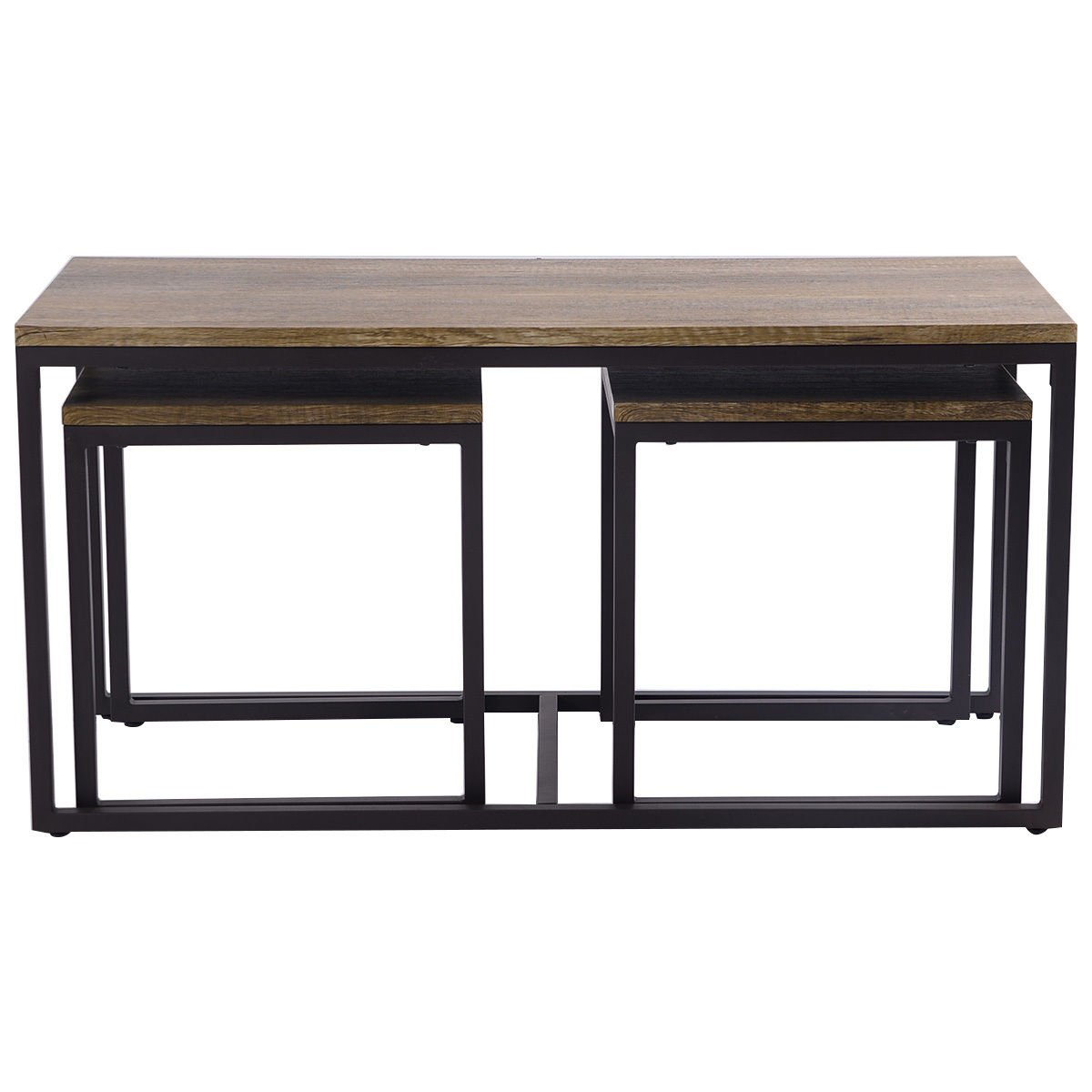 3 Piece Nesting Coffee & End Table Set Wood Modern Living Room Furniture Decor