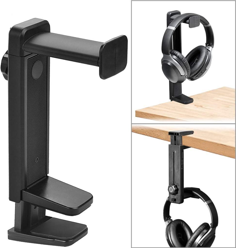 Avankin Headphone Stand and Hanger 2 in 1, Black Desk Earphone Holder Mount Rack for Sennheiser, Sony, Bose, Beats Gaming Headset Display, Fancy Music Studio Accessories - HS906