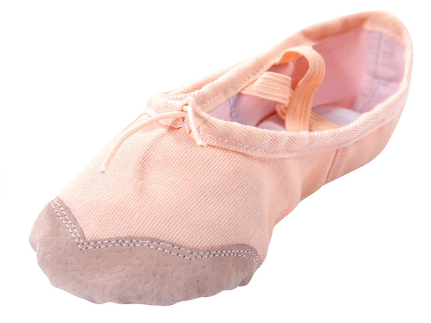Happy Cherry - Zapatos de Ballet Zapatiilas de Danza Baile Media Punta de Lona Suela de Piel Punta Reforzada de Cuero para Niñas Chicas Baillerina - Rojo color salmón - Talla 23-36