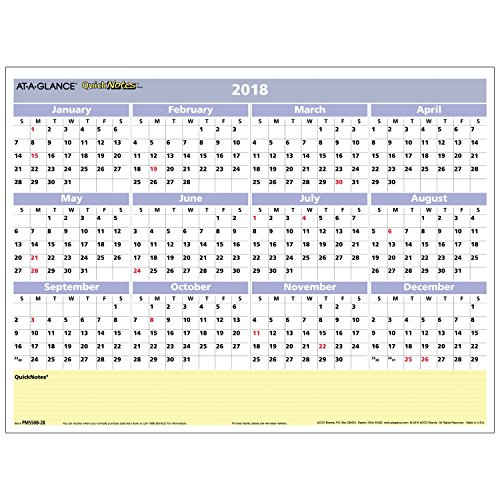 "AT-A-GLANCE Monthly / Yearly Wall Calendar, QuickNotes, 16"" x 12"", Reversible, Compact Erasable (PM550B28)"