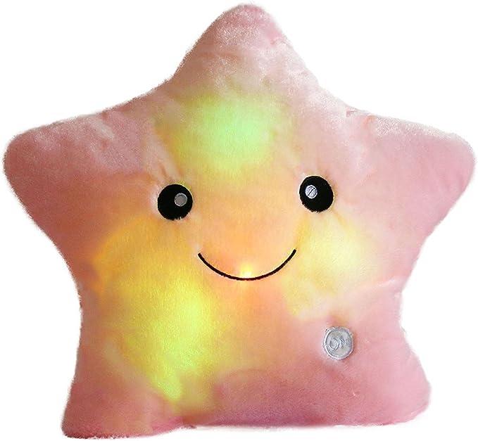 Amazon.com: MJTP LED Luminous Glowing Star Pillows Plush Stuffed Soft Toys Baby Kids Nursery Room Christmas Decorations (Pink): Home & Kitchen