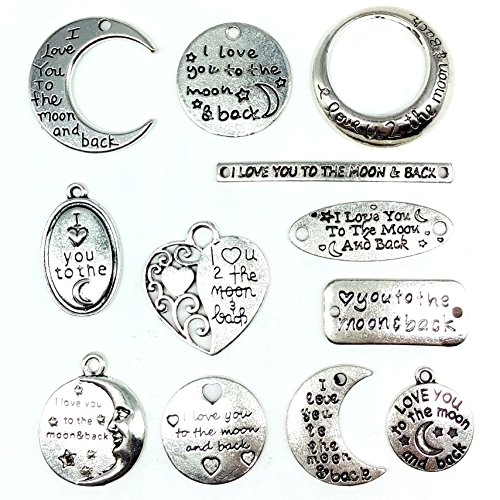 12PCSX2 (24PCS) Silver Tone Love You to the Moon and Back Charms Pendants Connectors, Jewelry DIY Supply Wholesale C12 -