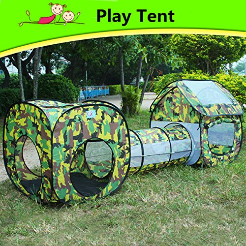 TANCHEN 3 in 1 Outdoor Camping Tent Kids Play Fun House Children Crawl Tunnel Sunshade