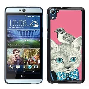 HTC Desire 826 dual Único Patrón Plástico Duro Fundas Cover Cubre Hard Case Cover - Kitty Kitten Bird Pink Bowtie