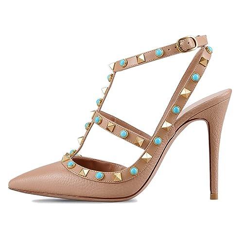 0681b3662ba MERUMOTE Women's Middle Heels Sandals Rivets Studs Shoes Summer Pumps
