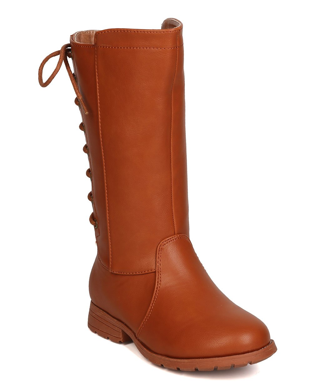 Girls Leatherette Back Lace Up Tall Riding Boot GB45 - Cognac (Size: Big Kid 3)