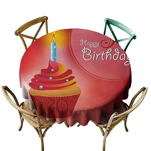 Zmlove - Mantel Redondo para 30 cumpleaños con diseño de ...