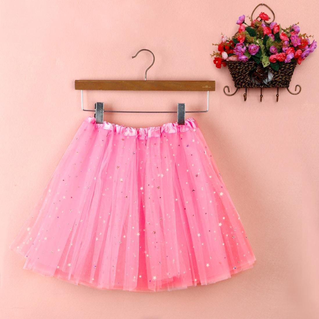 Sinwo Womens Girl Cute Pleated Gauze Short Skirt Adult Tutu Dancing Skirt Basic Skirt (Pink)