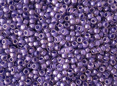 8/0 Toho Japanese Seed Beads - Purple Lined Crystal Luster #988 (28g ()
