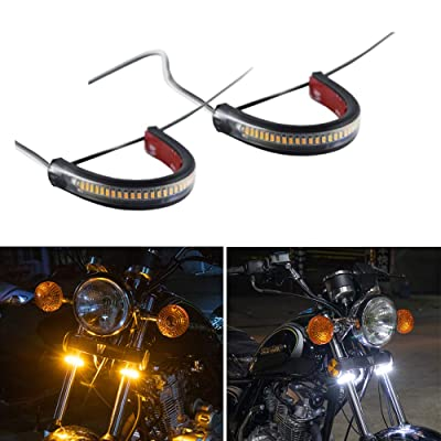 CoCsmart 2PC Flexible Switchback Dual-Color White & Amber Motorcycle LED Fork Turn Signal Blinkers DRL Daytime Running Light Waterproof Adjustable Stips Bars kit Universal Fit Motorbike (39mm-70mm): Automotive [5Bkhe1003766]