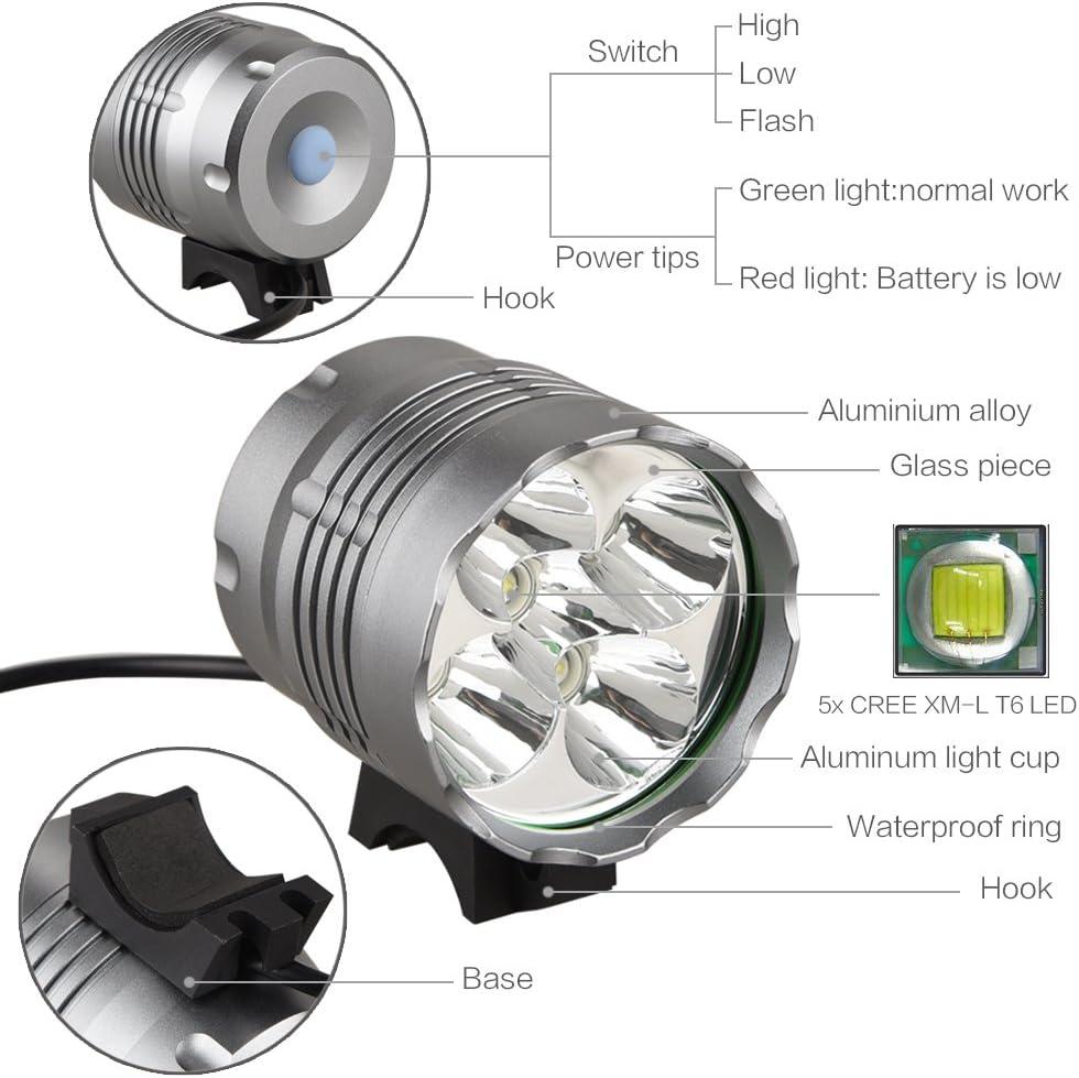 7 x CREE XML T6 LED 10000 LM vélo lampe rechargeable torche projecteur 10k
