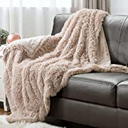Faux Fur Fleece Throw Blanket 50x60 Shaggy Camel Rustic Home Decor Bedding Blanket