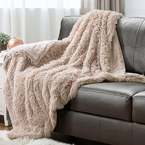 "Faux Fur Throw Blanket PV Fleece Bed Throws 60""x80"" Shaggy C"