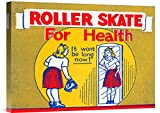 Global Gallery GCS-375758-22-142 ''Retrorollers Roller Skate For Health'' Gallery Wrap Giclee on Canvas Wall Art Print