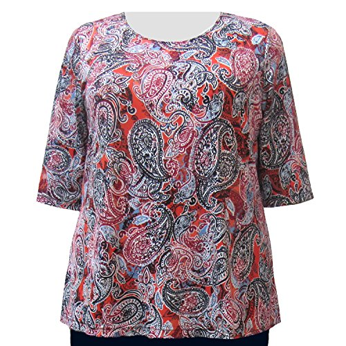 - A Personal Touch Women's Plus Size Paprika Paisley Round Neck Top - 6X