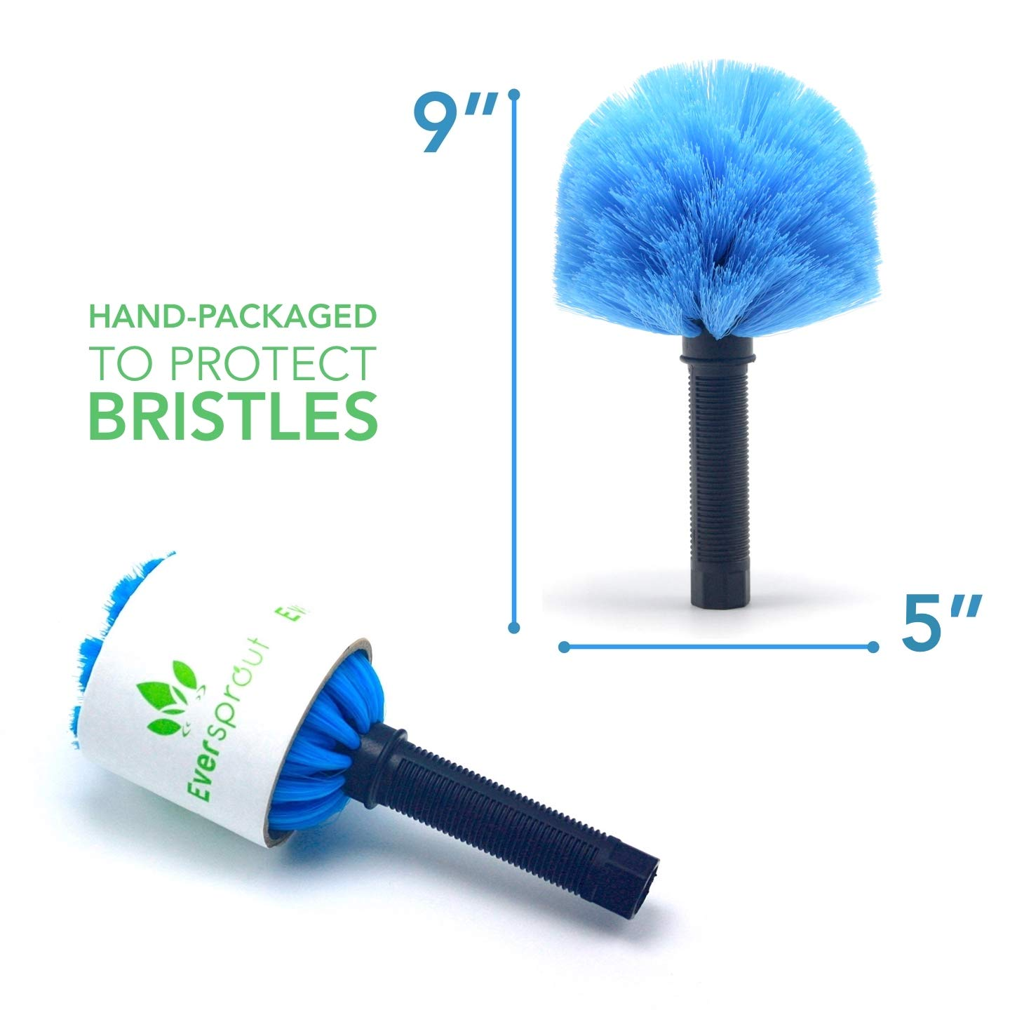 EVERSPROUT 4-Pack Duster Squeegee Kit with Extension-Pole (20+ Foot Reach) | Swivel Squeegee, Hand-Packaged Cobweb Duster, Microfiber Feather Duster, Flexible Ceiling Fan Duster, 12 ft Telescopic Pole by EVERSPROUT (Image #7)