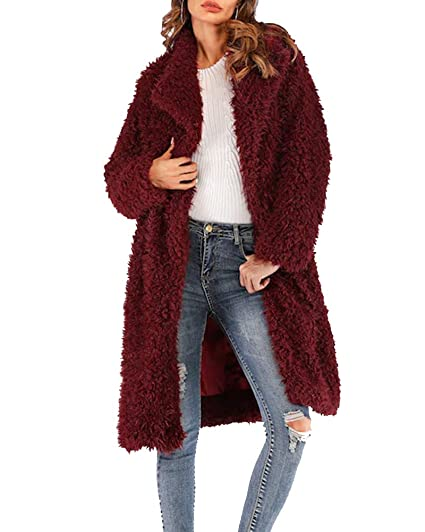 f77facc48 Aofur Women's Casual Thick Faux Fur Outdoor Trench Coat Winter Warm Long  Jacket Parka Overcoat Oversize 8-20