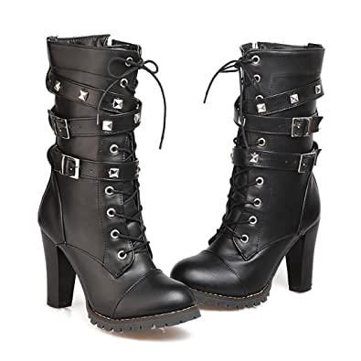 50b2e958269e Mostrin Women Motorcycle High Heels Punk Buckle Rivet Strap Combat Military  Mid Calf Boots