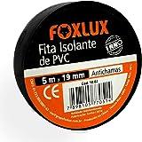 Fita Isolante Foxlux – PVC Antichamas – 5m x 19mm – Espessura: 0,15mm – Alta Elasticidade – Isola fios com tensão até 600V –